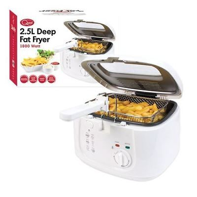 2.5L Electric Deep Fat Fryer Removable Lid Chips Kitchen Cooking Window White