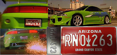 The Fast and The furious movie license plate Brian Oconnor Mitsubishi eclipse