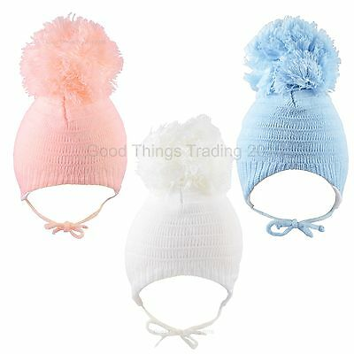 Baby Pom Pom Hat Large Bobble Chin Tie Winter Knitted Warm Boys Girls 0-3 3-6 M