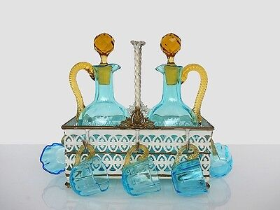 Charming Antique LEGRAS Hand Blown Glass Liqueur Cabaret Service, France 1899s