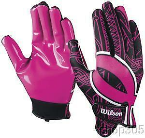 Wilson Football Youth Receivers Glove with Ribbon Pink HOPE Cancer Awareness