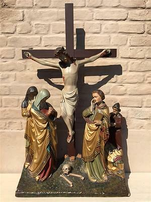 WONDERFUL Antique Religious French Statuary, Christ on Calvary Large & Stunning