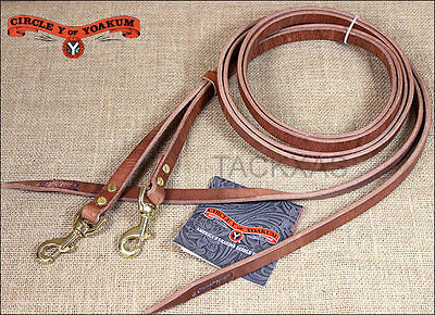 "3/4"" X 7' Circle Y Horse Tack Leather Split Reins W/ Brass Snap"