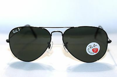 polarized aviator sunglasses ihht  New RAY-BAN RB3025 002/58 Black / Green Polarized Aviator