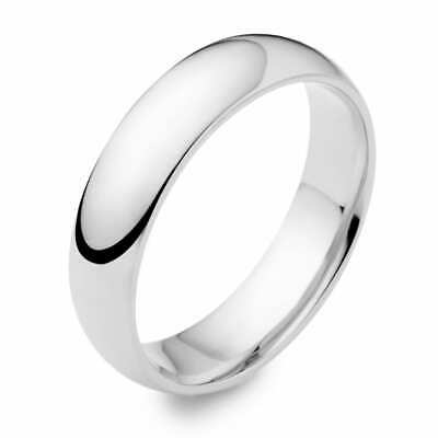 14K Solid White Gold 4mm High Polish Classic Wedding Band Ring All Sizes 5-12