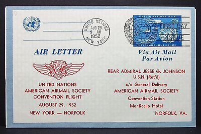Air Letter Postal Stationery United Nations New York FDC GS Ersttag Brief I-6717