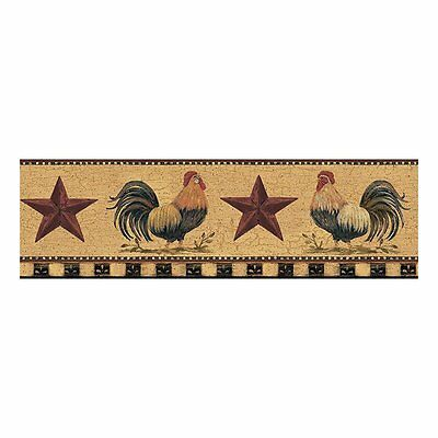 Barnyard Roosters on Gold with Folk Art Stars Wallpaper Border YC3402BD