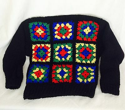 Vintage Child's Granny Square Sweater. Size 4-6