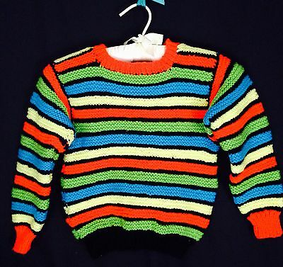 Vintage Hand Knit Child's Striped Sweater. 4 - 6 Years