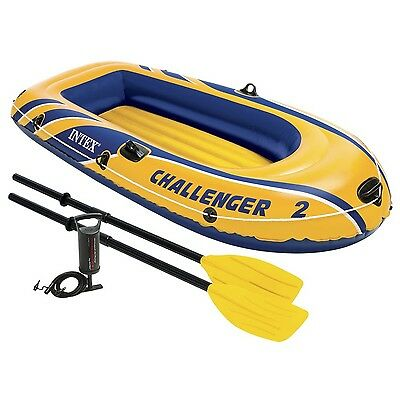 Intex Challenger 2 2-Person Inflatable Boat Set with French Oars and High Out...