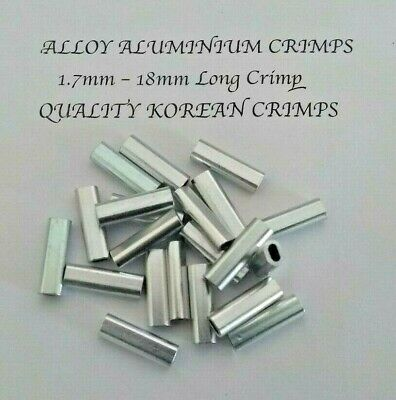 ALLOY ALUMINIUM CRIMP 1.7mm x 100 Pk 18mm LONG CRIMPS TERMINAL FISHING TACKLE