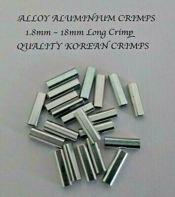 ALUMINIUM ALLOY CRIMP 1.8mm x 100 Pk 18mm LONG CRIMPS TERMINAL FISHING TACKLE