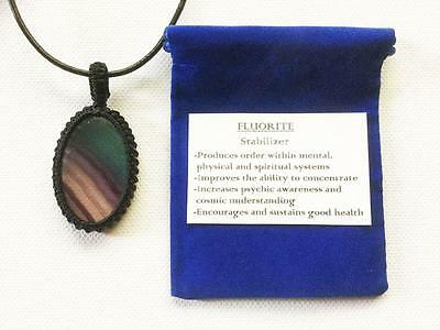 Fluorite Pendant Crystal Gemstone Necklace, Adjustable Chain, Velvet Pouch