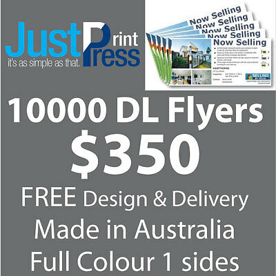 DL Flyers, 10000, Full Colour, FREE design, Australian Made, 1 side