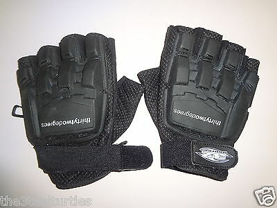 32 Degrees Armored Fingerless Gloves, Black - Large Excellent Pre-owned Cond.