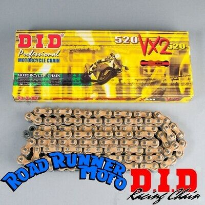 DID 520 VX2 gold X-ring motorcycle chain suits Kawasaki KLX450R 4-stroke