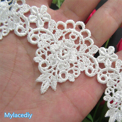 2 yd Vintage Embroidered Lace Edge Trim Ribbon Wedding Applique DIY Sewing Craft