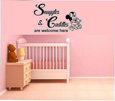 Baby Minnie Mouse Snuggles & Cuddles Wall sticker  Girls Nursery Bedroom Babies