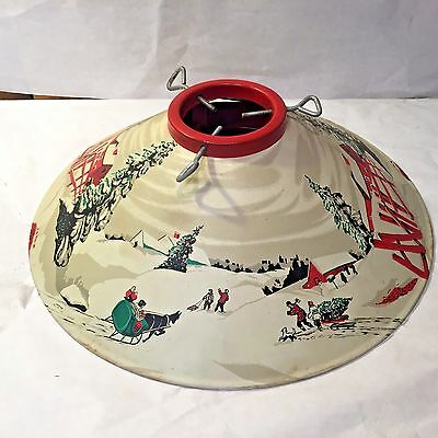 Vtg MCM Tin Litho XMAS TREE STAND c.1950's Sleigh Barn Winter Wonderland Scene