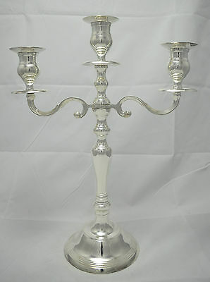 N8809 N° Magnifico Candelabro 3 Luci In Argento Sheffield Collection
