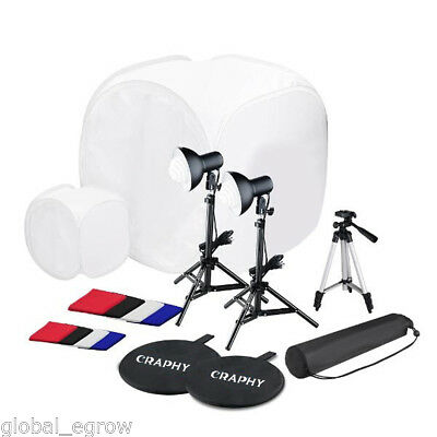 Photo Studio Light Box Tent Cube Backdrop Kit 2x Continuous Light Camera Tripod
