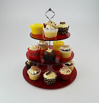 SALE: 3 Tier Cake Stand for Cup Cakes / Muffins / Afternoon Tea Red Tint Acrylic