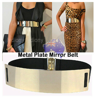 Fashion Width Gold Shining Waistband Metal Plate Mirror Belt Cup Day Party Dress