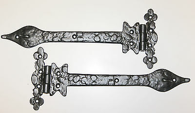 "Ornamental 'T' Hinges 12"" (300mm) Black Heavy Duty"