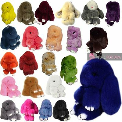 New Adorable Real Fur Bunny Fluffy Rabbit Keyring Bag Charm Pendant Keychain