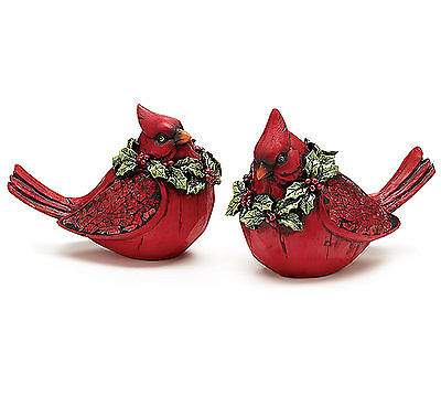 "Pair Red Cardinal Figurines Christmas Decor 7"" Wide Mosaic Wings Burton+Burton"