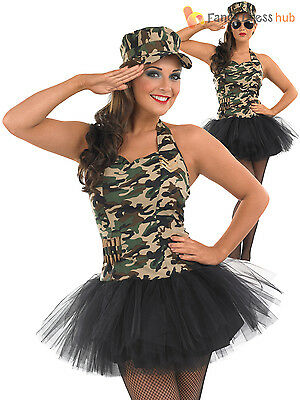 Ladies Army Costume Adults Commando Tutu Fancy Dress Womens Military Outfit