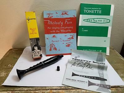 Vintage Tonette Classroom Musical Instrument W/box Song & Instructor Book Lot