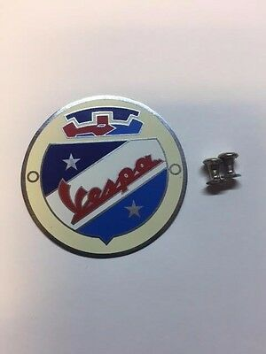 Classic Vespa Acid Etched SS Wheel Spinner Badge 50mm as Original Design 038