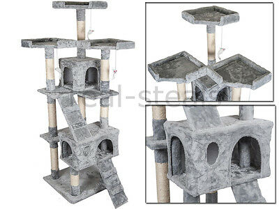 Grey Large Large Cat Tree Scratch Kitten Climb Post Sisal Toy House Activity