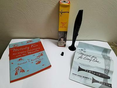 Vintage Tonette Classroom Musical Instrument W/box Melody Fun Song  Book Lot