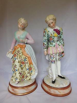 "LARGE PAIR OF SITZENDORF FIGURES ""GENTLEMAN AND LADY"" c1890 ~ NOW 15% OFF"