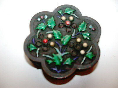 Beautiful Antique Enameled Metal Scalloped Box