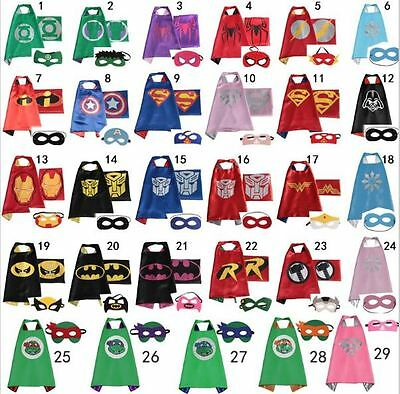 Superhero Cape 1 cape + 1 mask for Kids Birthday Party Halloween Batman Superman