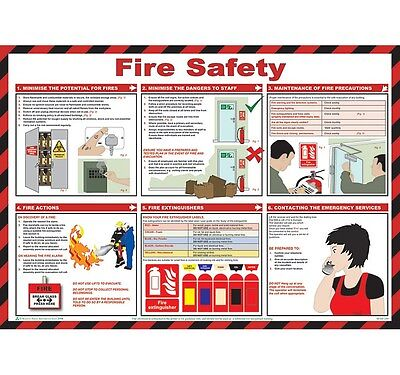 Fire Safety Poster Health & Safety Sign Fire Prevention Workplace Wall Chart