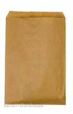 "Paper Bags Kraft Flat 1000 Natural Retail Sales Merchandise 6 ¼"" x 9 ¼"""