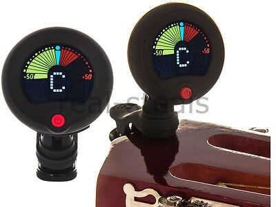 Round Electric Lcd Clip On Chromatic Acoustic Guitar Bass Ukulele Digital Tuner