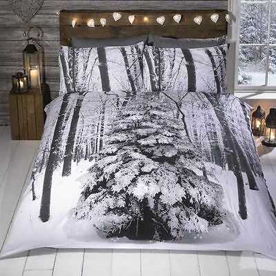 Winter Sparkle Christmas Tree Quilt Duvet Cover Bed Set Single Double, King
