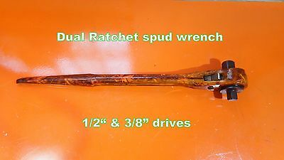"""Ratchet Spud 16"""" Dual 1/2"""" 3/4""""  Alignment Tool wrench iron worker Hammerhead"""