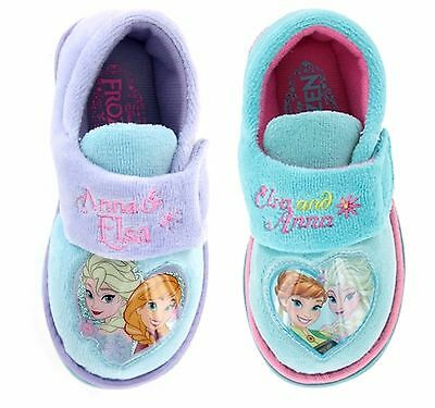 Girls Disney Frozen Elsa Anna Olof Slipper Shoe Lilac Aqua Toddler Size 4-13