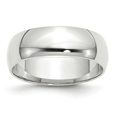 Solid 14k White Gold Wedding Band Half Round Ring Mens Womens Sizes 4 to 14