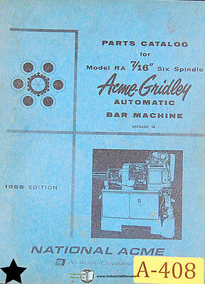 "Acme Gridley 7/16"", Automatic Bar Machine, Parts Manual Year (1958)"
