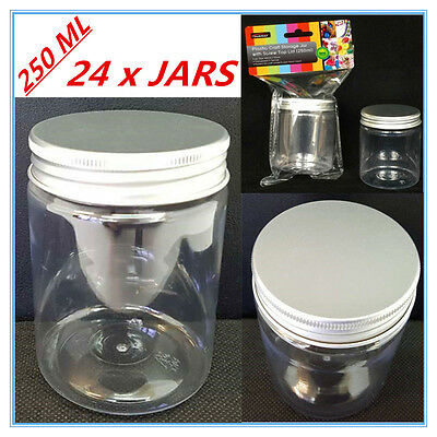 24 X Clear Plastic Screw Top Craft Project Storage Jars Jar Silver Lid 250Ml Fw