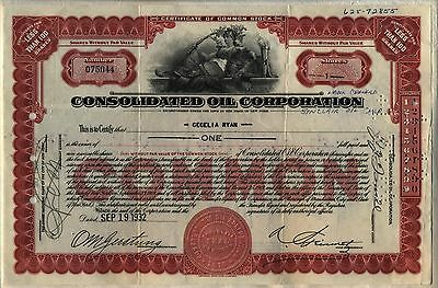 Consolidated Oil Corporation Stock Certificate New York Lady Lion Red