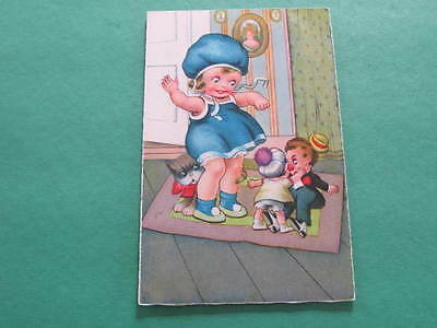 Girl with Toys Artist Drawn Postcard Postally used