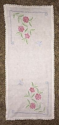 """Blue Birds Vintage Embroidered Runner Doily Pink Flowers Lace Edges 18"""" x  41"""""""